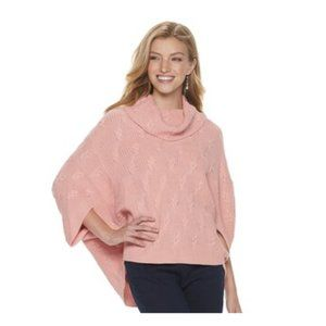 M Pink Poncho Sweater Short Sleeve Cowl Neck Shirt